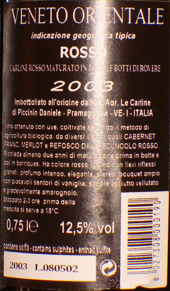 Carline Rosso 2003, mellowed red wine from Venice back label