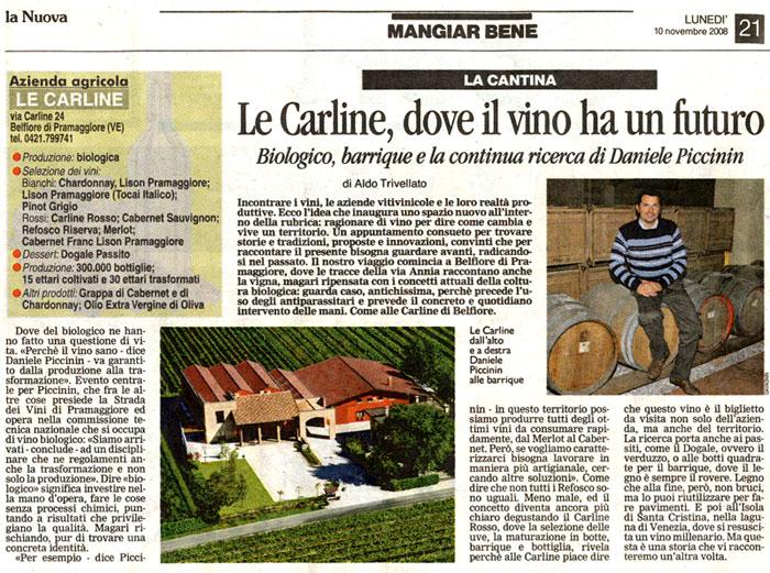 [Nuova Venezia] - Le Carline, dove il vino ha un futuro (10 novembre 2008)