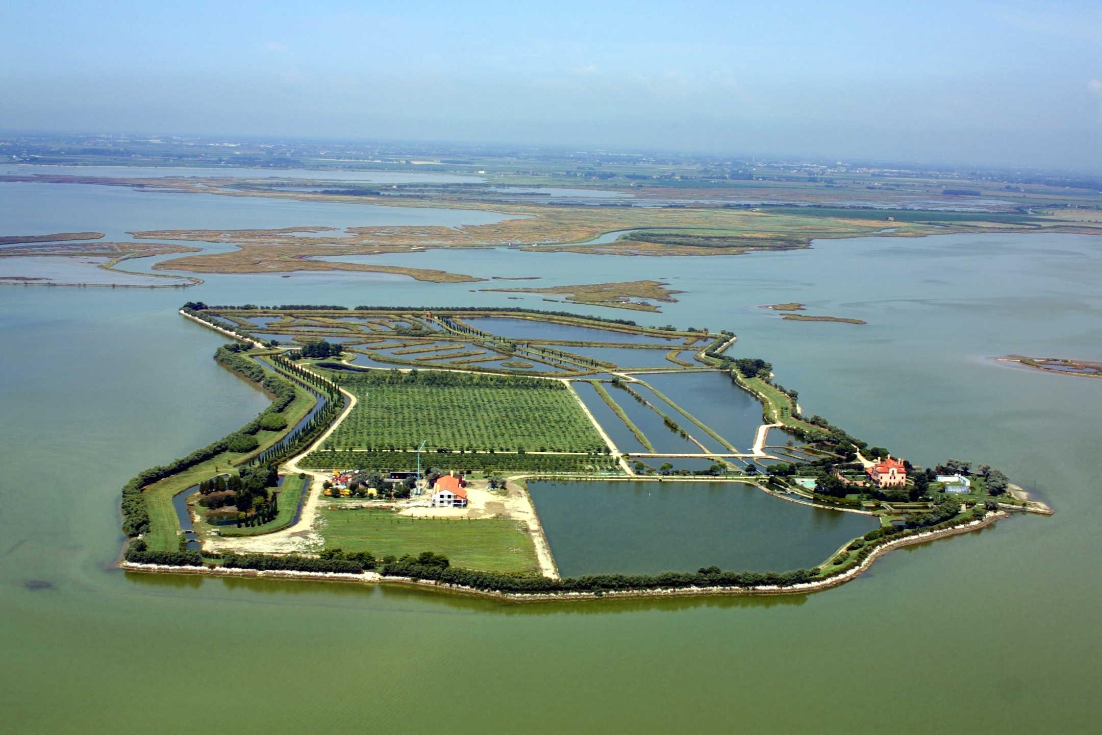 Foto panoramica Isola Santa Cristina, Laguna Nord di Venezia