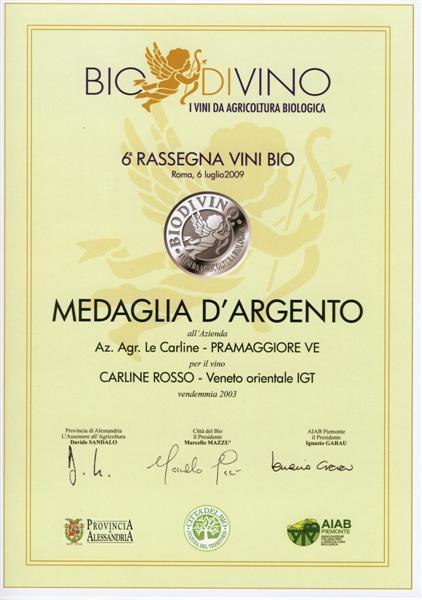 MEDAGLIA D'ARGENTO DI BIODIVINO
