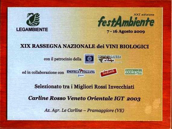 MENZIONE DI FESTAMBIENTE AL CARLINE ROSSO