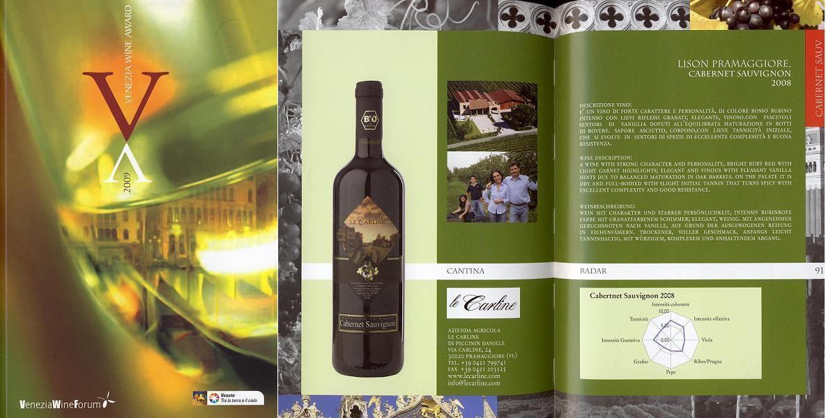 Venezia wine award Cabernet Sauvignon Le Carline