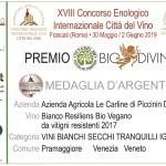 MEDAGLIA D'ARGENTO BIANCO RES. CONCORSO BIODIVINO